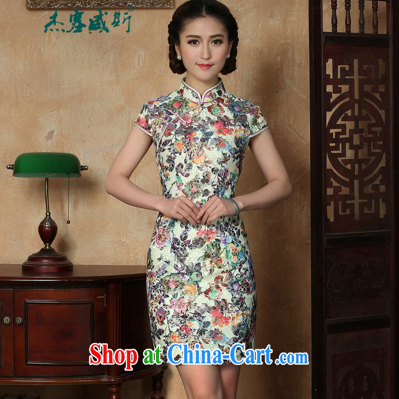 The Jessup, new summer Women's clothes stamp beauty and elegance for manual for short-sleeved dresses cheongsam as shown XXL