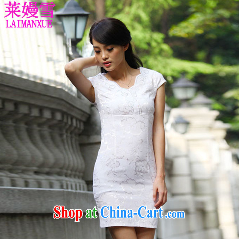 Golden Harvest, snow 2015 summer new chinese daily retro cheongsam dress Female Light apricot XL