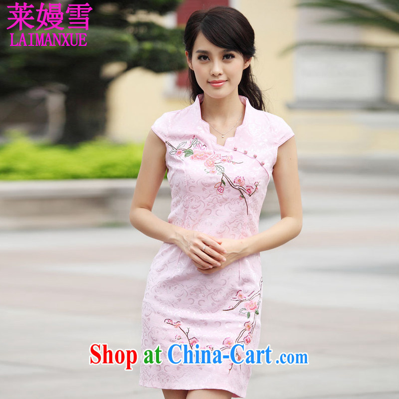 Golden Harvest, snow summer 2015 new stylish short retro stamp duty cultivating cheongsam dress skirt pink XL