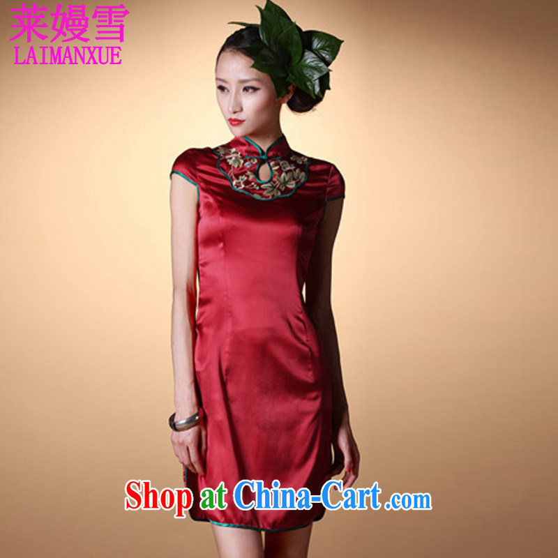Golden Harvest, snow 2015 noble luxury_ The collar embroidered retro stretch Satin cheongsam red L