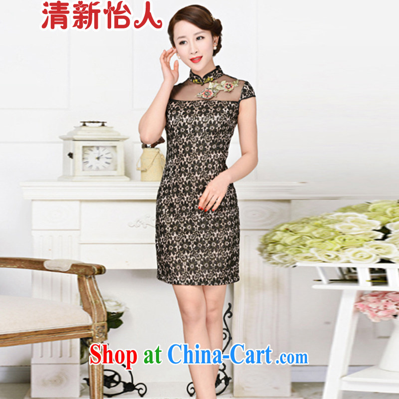 Refreshing new Ethnic Wind elegant low the forklift truck serving toast improved cheongsam dress summer T-shirt dress girls black lace two flower Peony flower S