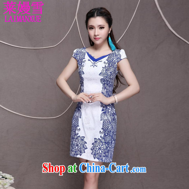 Golden Harvest, snow 2015 high-end Ethnic Wind stylish Chinese qipao dress retro beauty graphics thin cheongsam blue XXL