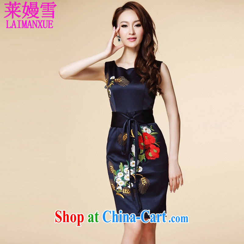 Golden Harvest, snow 2015 summer new elegant style evening gown embroidery sleeveless dresses blue XXXL