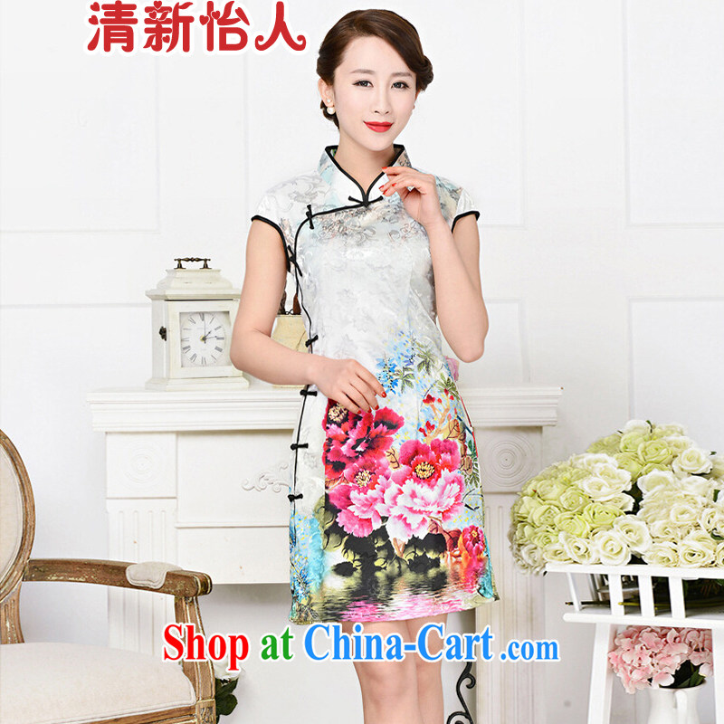 Refreshing new Ethnic Wind elegant low the forklift truck serving toast improved cheongsam dress summer T-shirt dresses female black collar, crane figure