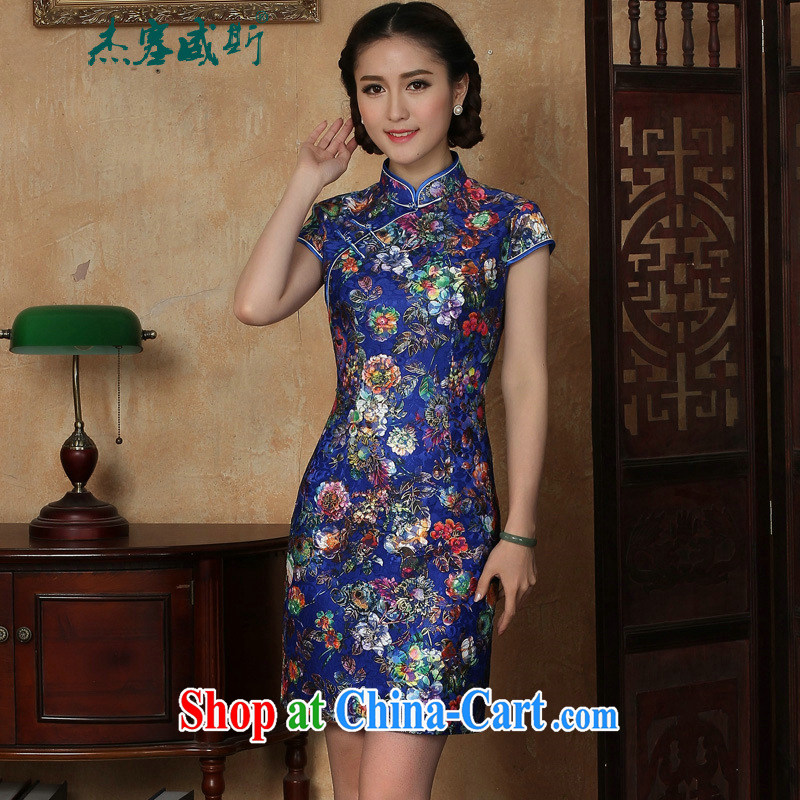The Jessup, new female summer stamp lace-up collar manual for short-sleeved dresses cheongsam blue XXL