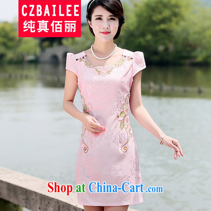 Jin Bai Lai new cheongsam dress improved Tang replace 2015 retro summer short-sleeved dresses video thin beauty embroidery cheongsam dress elegant pink L