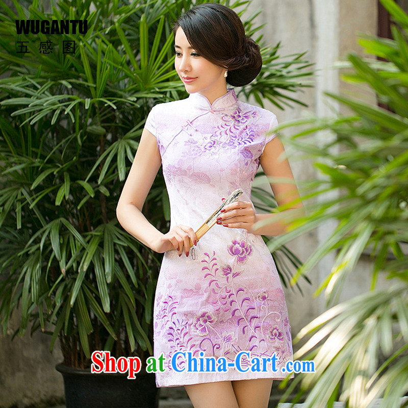 5 AND THE 2015 spring and summer new ethnic wind girls decorated in modern day improved retro embroidered short cheongsam dress WGT 0080 purple XXL