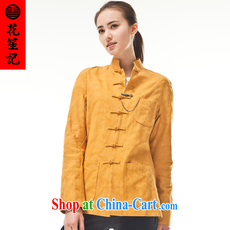 Take Your Excellency's wind stylish cotton was Chinese, Chinese Ethnic Wind Casual Shirt retro jacket yellow _M_