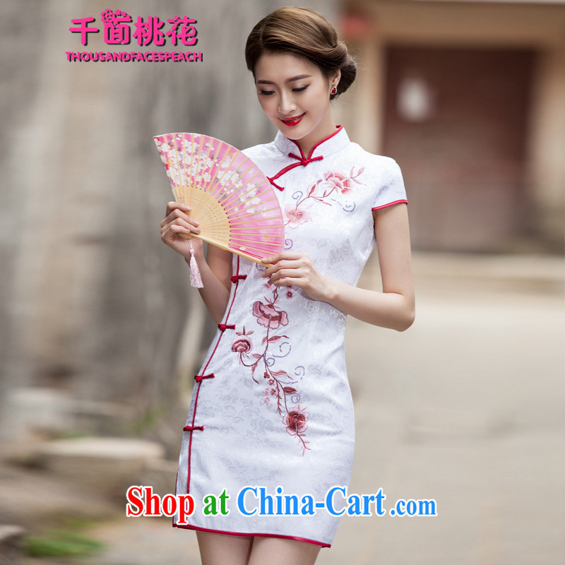 1000 the mahogany 2015 spring and summer new Chinese Antique improved stylish short day cultivating cheongsam dress female white L