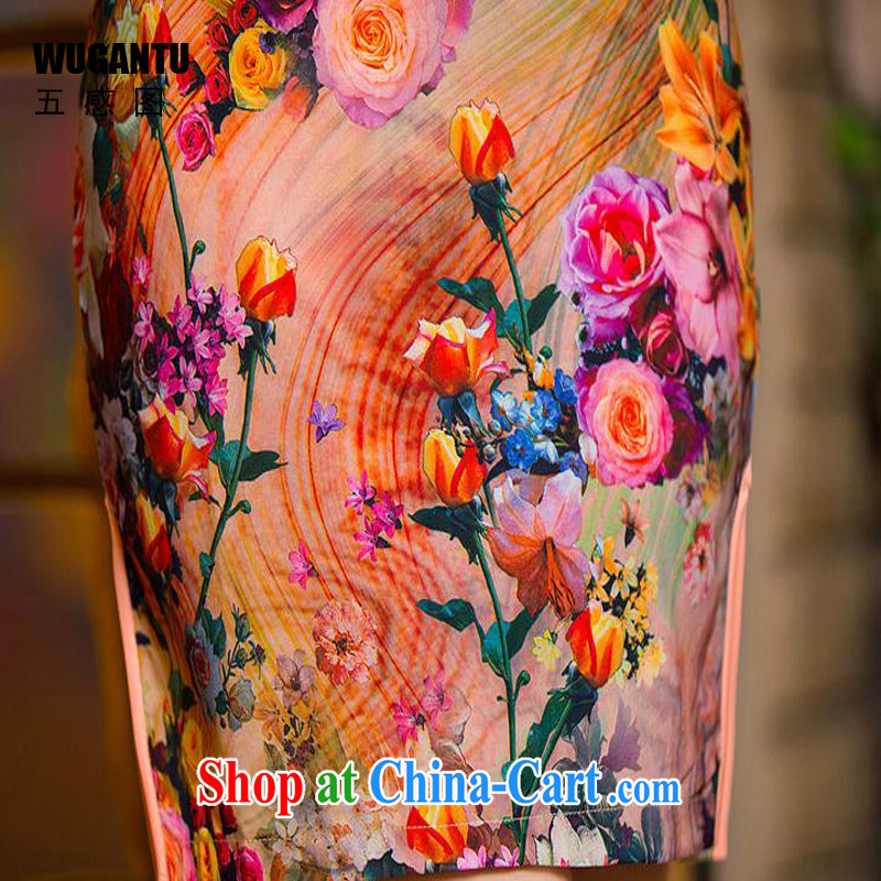 5 the sense of beauty and idyllic cheongsam dress 2015 China wind National wind dress roses WGT 154 photo color XXL