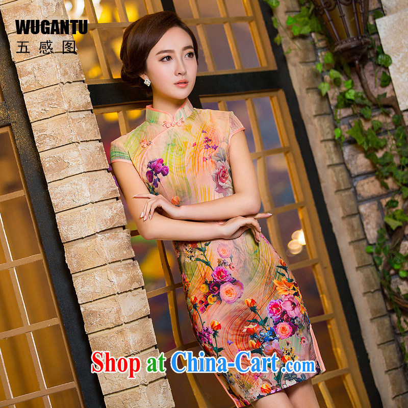 5 the sense of beauty and idyllic cheongsam dress 2015 China wind National wind dress roses WGT 154 photo color XXL, SENSE 5 figure (WUGANTU), online shopping