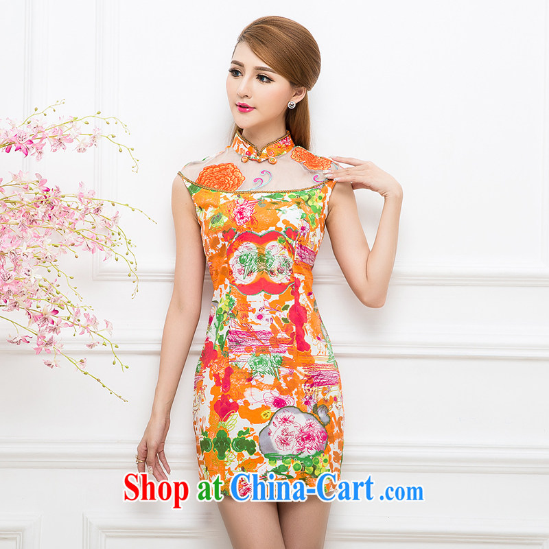 The Tang dynasty summer 2015 retro style beauty embroidered short sleeves improved short cheongsam dress girls dresses TXF 41,249 white orange abstract figure XXL