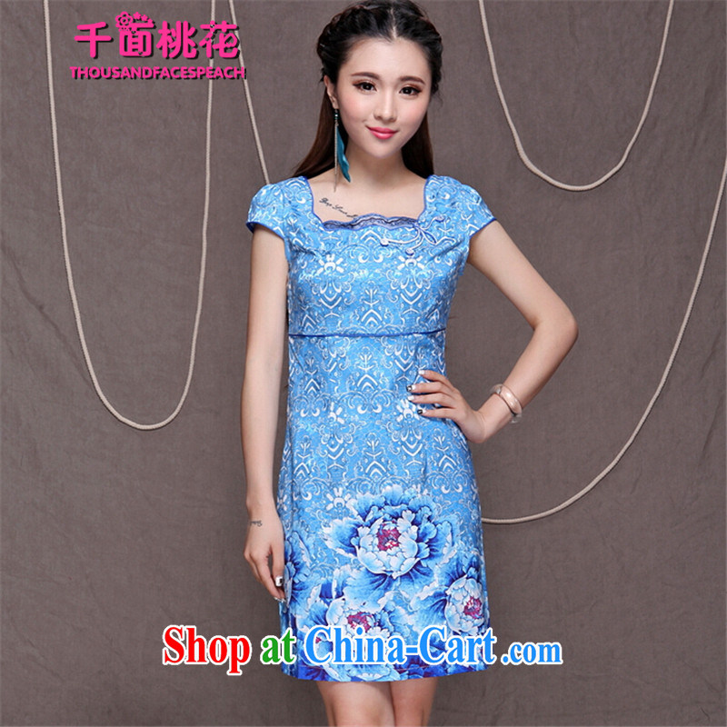 1000 the mahogany summer 2015 new embroidery cheongsam high-end ethnic wind stylish Chinese qipao dress daily retro beauty graphics build cheongsam picture color XXL