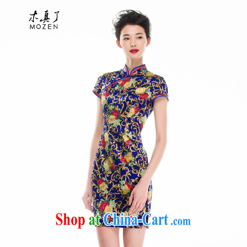 Wood is really the 2015 spring and summer new Chinese female decorated in a refined Silk Cheongsam dress stamp dresses 53,346 10 dark blue XXL (B)