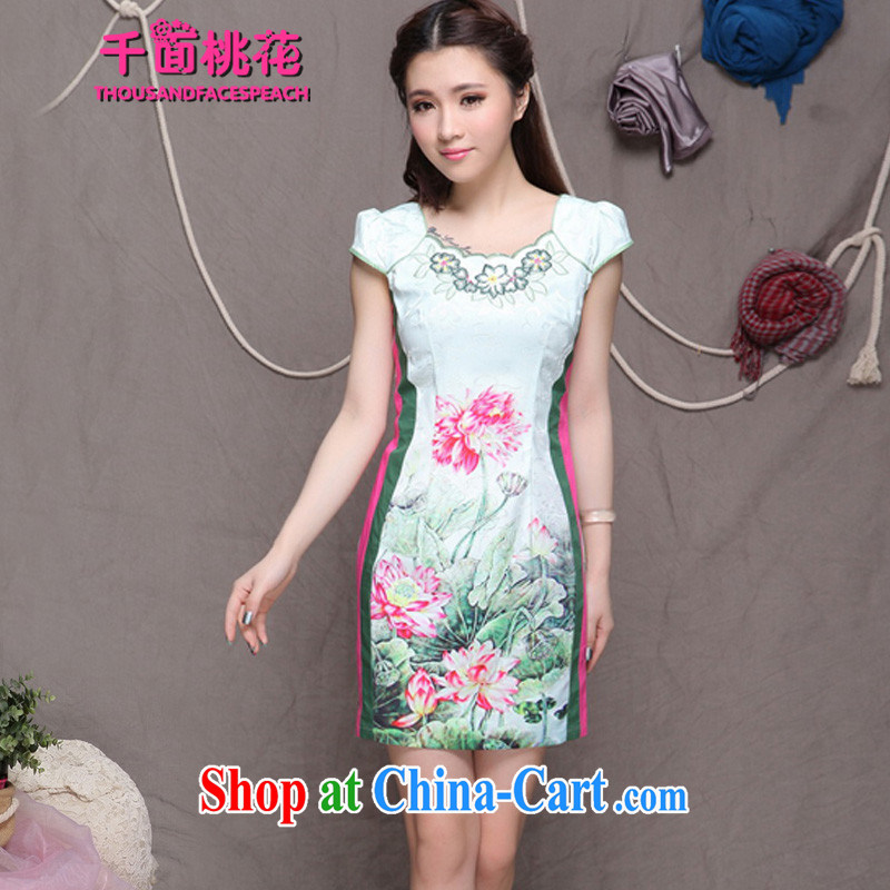 1000 the mahogany summer 2015 New China wind stylish ethnic wind and refined improved cheongsam dress elegance female picture color M