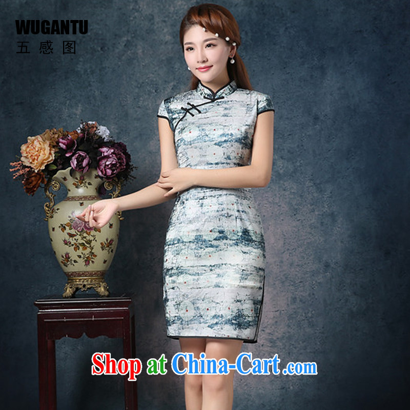 5 AND THE 2015 New china daily fashion improved upscale Korean population cultivating short cheongsam dress dress WGT 85,072 picture color XXL