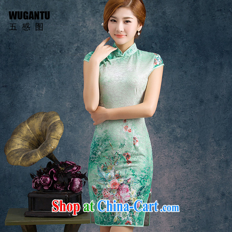5 AND THE 2015 new improved Stylish retro lace cheongsam dress short dress upscale lace dresses WGT 75,003 black XXL