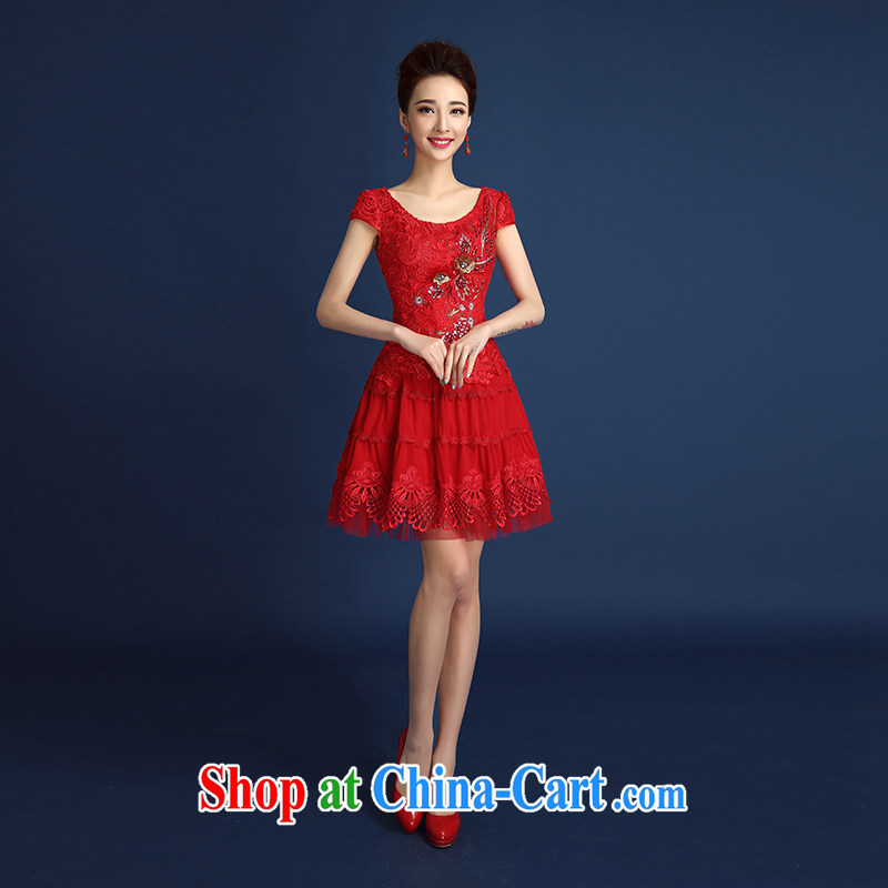 Toasting Service Bridal wedding dress improved cheongsam dress short summer language empty water-soluble lace beauty graphics thin antique Chinese back door service female Red short-sleeved short red XXL