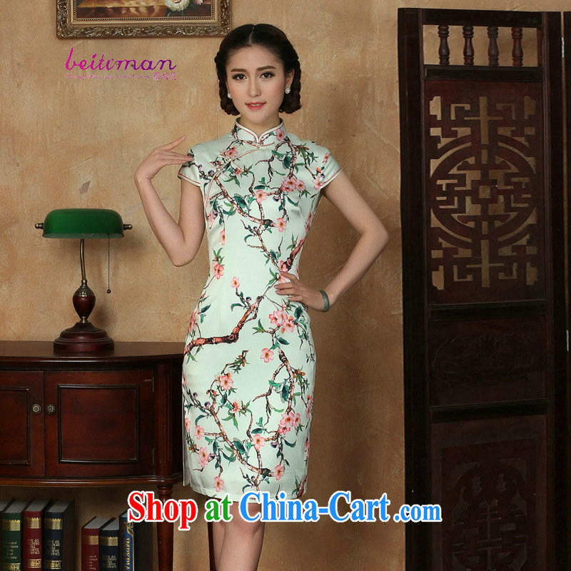 Mrs Ingrid sprawl economy 2015 summer new short-sleeved Ethnic Wind short daily dresses dresses improved girls stylish embroidered cheongsam green XXL
