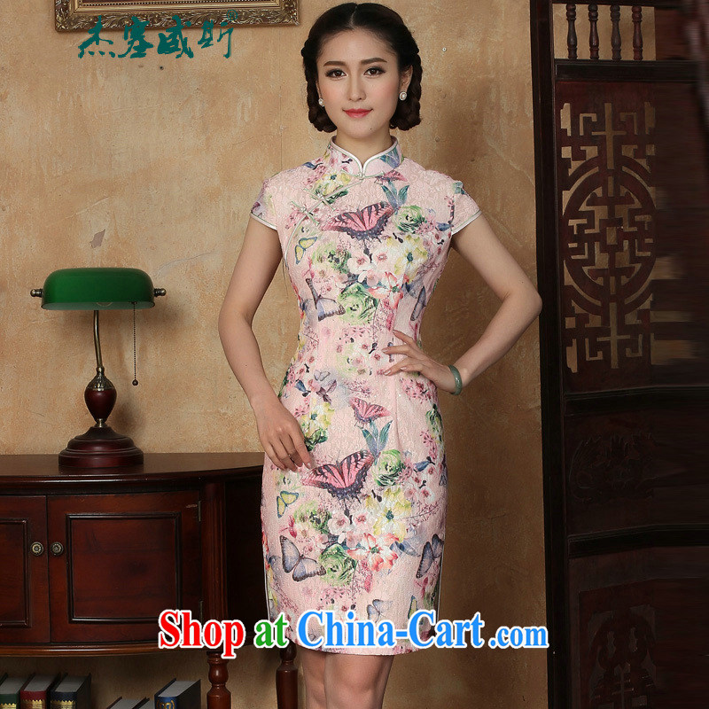 Jessup, new summer Women's clothes lady retro elegance, for manual charge-back short-sleeved dresses cheongsam pink XXL