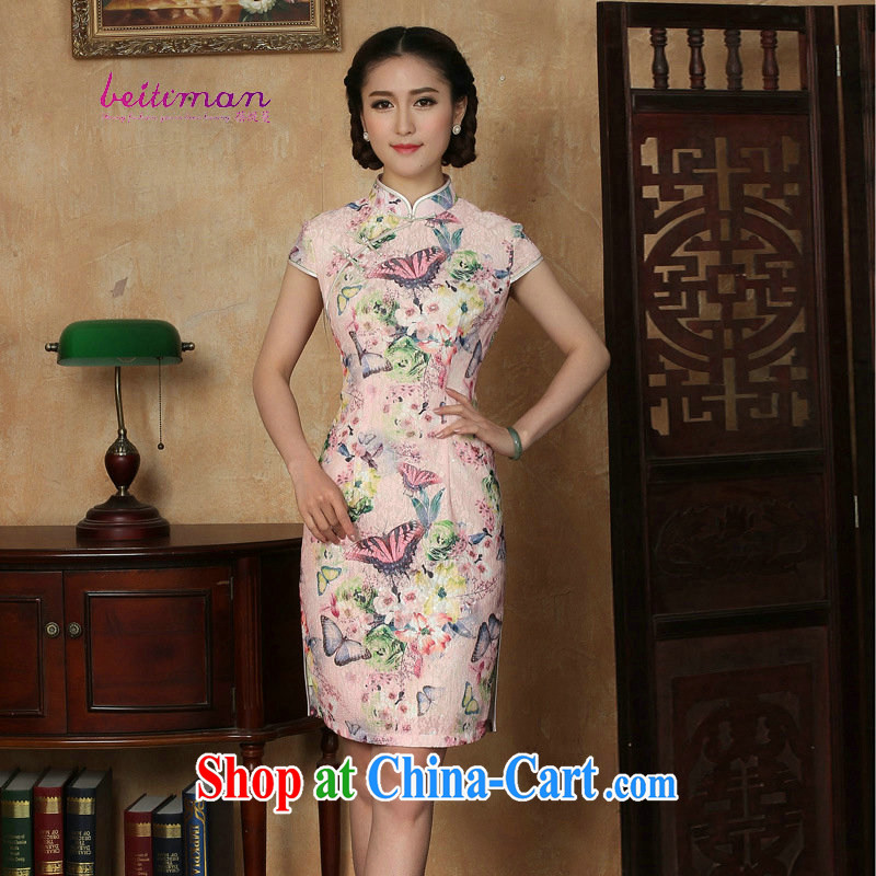 Pauline sprawl economy 2015 summer new women with sleek and stylish outfit improved retro elegant qipao dress Butterfly - 2 XXL