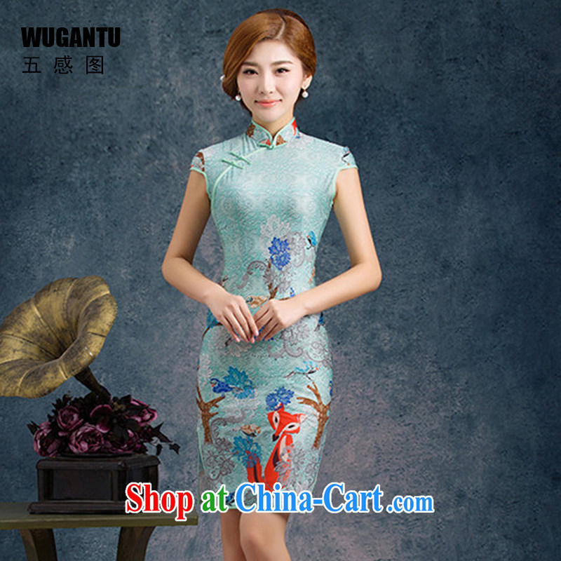 5 AND THE 2015 New china daily fashion improved silk cultivation short cheongsam dress dress WGT 85,074 picture color XXL
