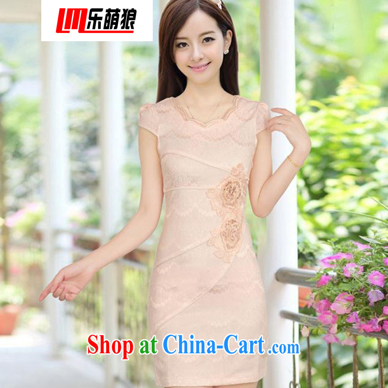 american economic Wolf summer new, improved cheongsam stylish embroidered women video waist cheongsam dress female apricot XXL