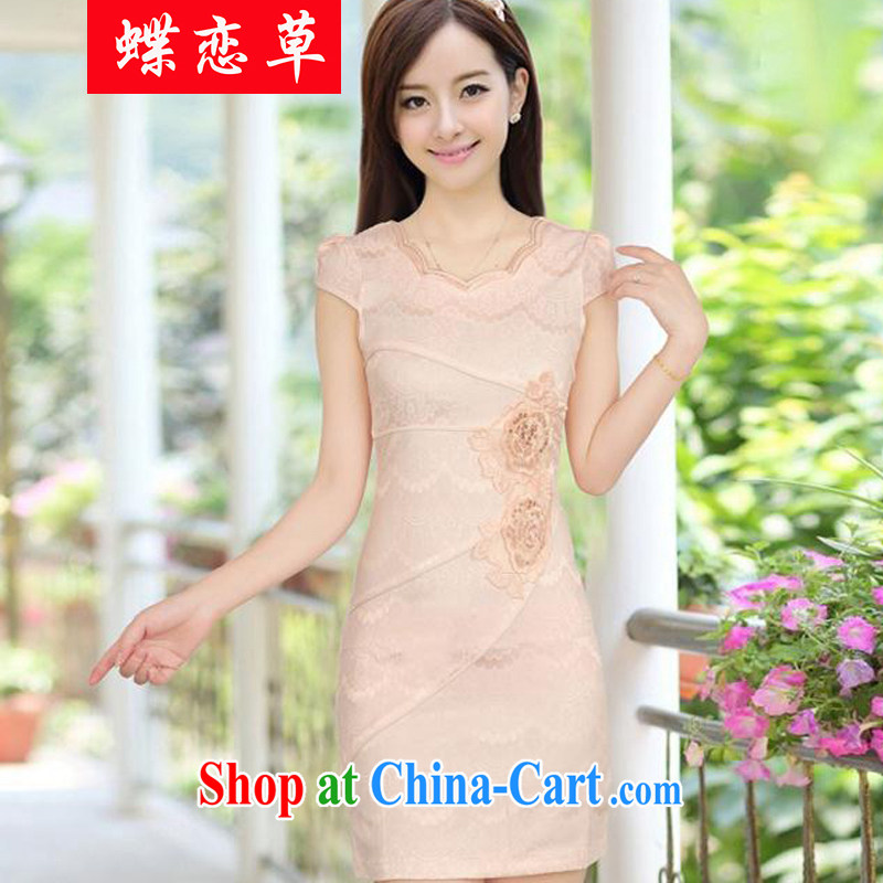 Butterfly Lovers D. summer new, improved cheongsam stylish embroidered women video waist cheongsam dress female apricot XXL