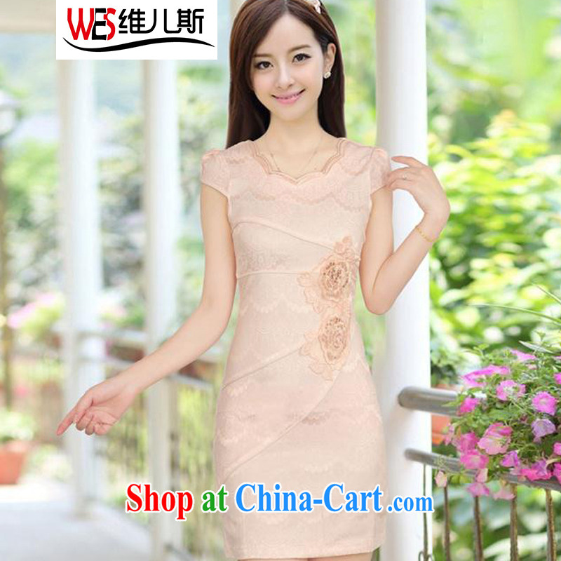 D-care, summer new, improved cheongsam stylish embroidered clothes video waist cheongsam dress female apricot XXL