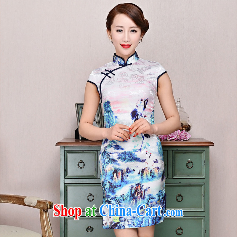 Improved modern cheongsam dress 2015 new summer lady short, cultivating daily cheongsam dress elegance black collar, crane figure L