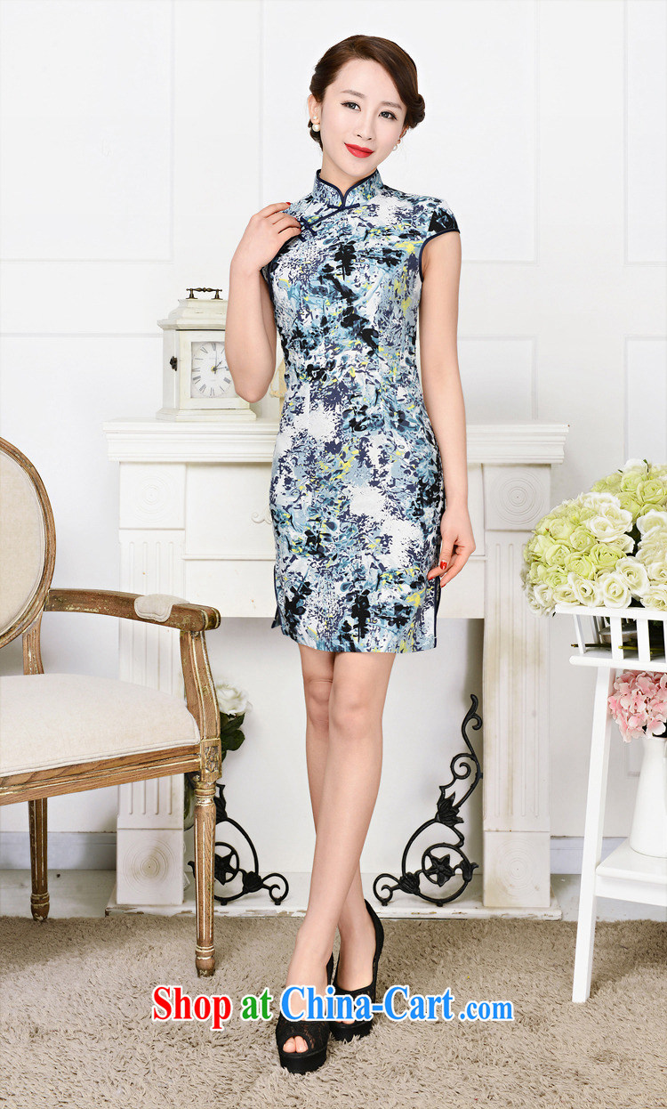 2015 spring and summer new cheongsam dress retro fashion standard retro improved silk short qipao cheongsam dress green package for green floral XXL pictures, price, brand platters! Elections are good character, the national distribution, so why buy now enjoy more preferential! Health