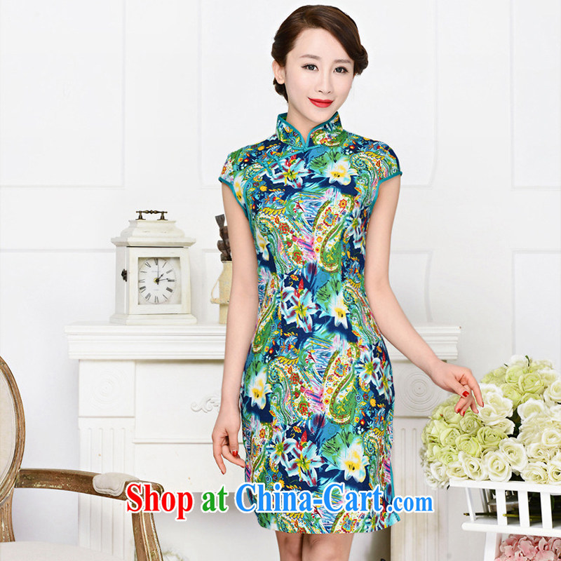 2015 spring and summer new cheongsam dress retro fashion standard retro improved silk short qipao cheongsam dress green package for green floral XXL