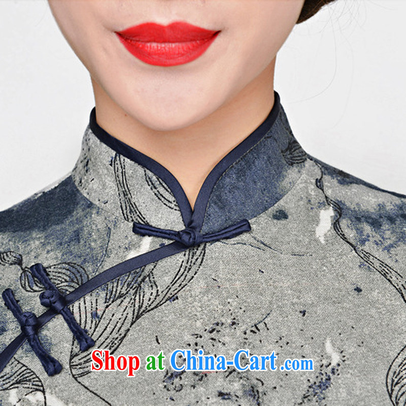 2015 spring and summer new cheongsam dress retro fashion standard retro improved silk short qipao cheongsam dress green package for green floral XXL, Domino-hee, shopping on the Internet