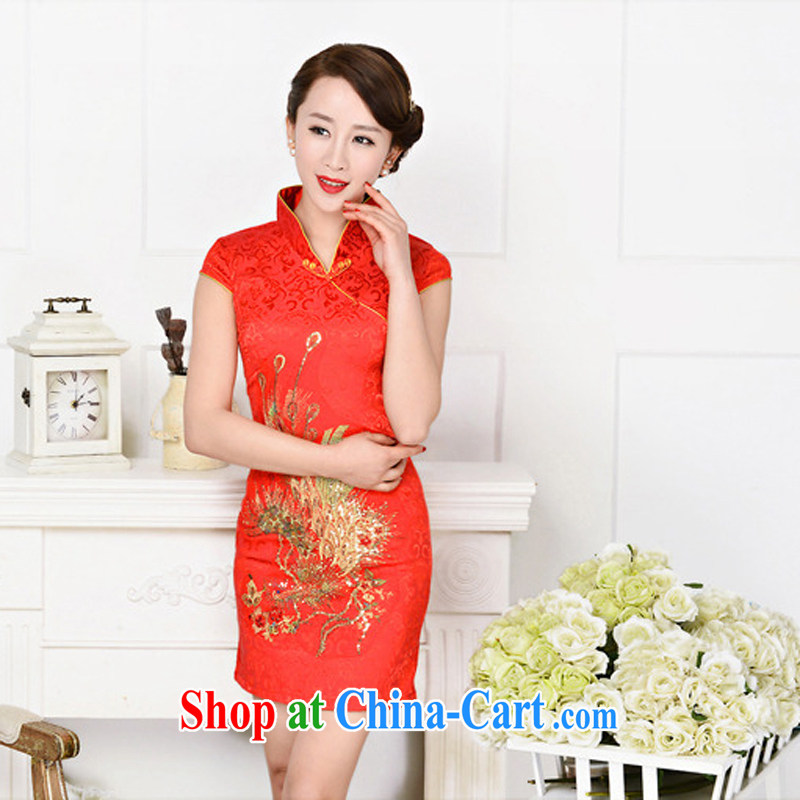 Summer 2015 New Beauty short-sleeved retro China National wind embroidery cheongsam dress dresses reception girl red phoenix spend L