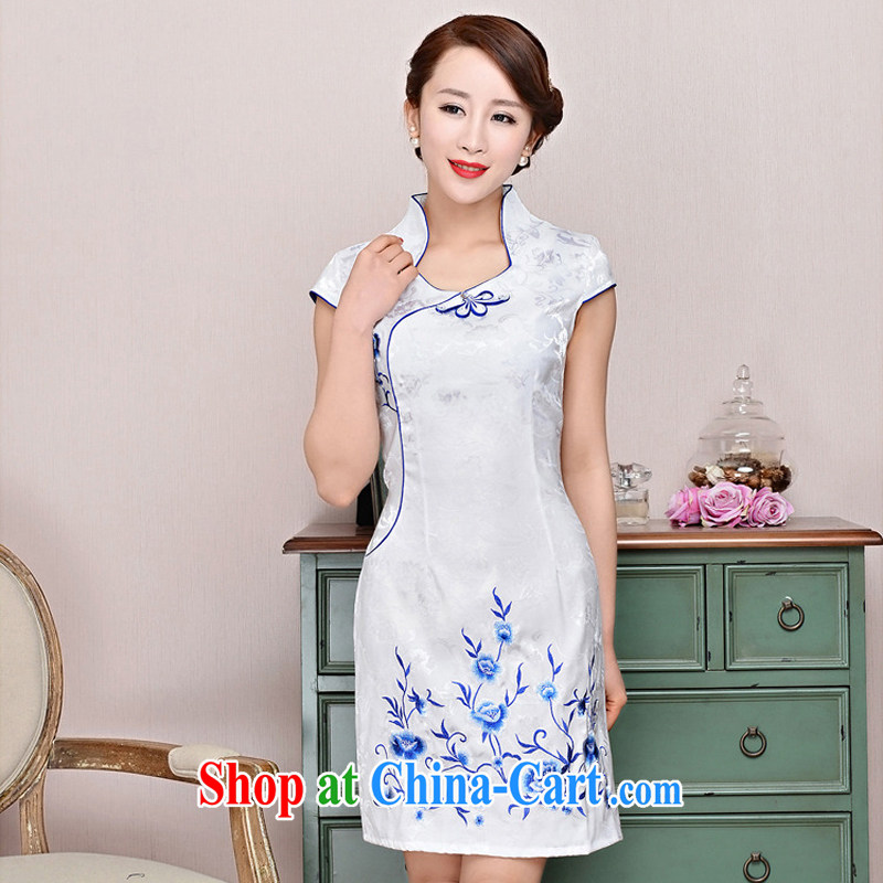 2015 new retro dresses improved daily silk sexy beauty cheongsam dress, short dress, white small flowers XL