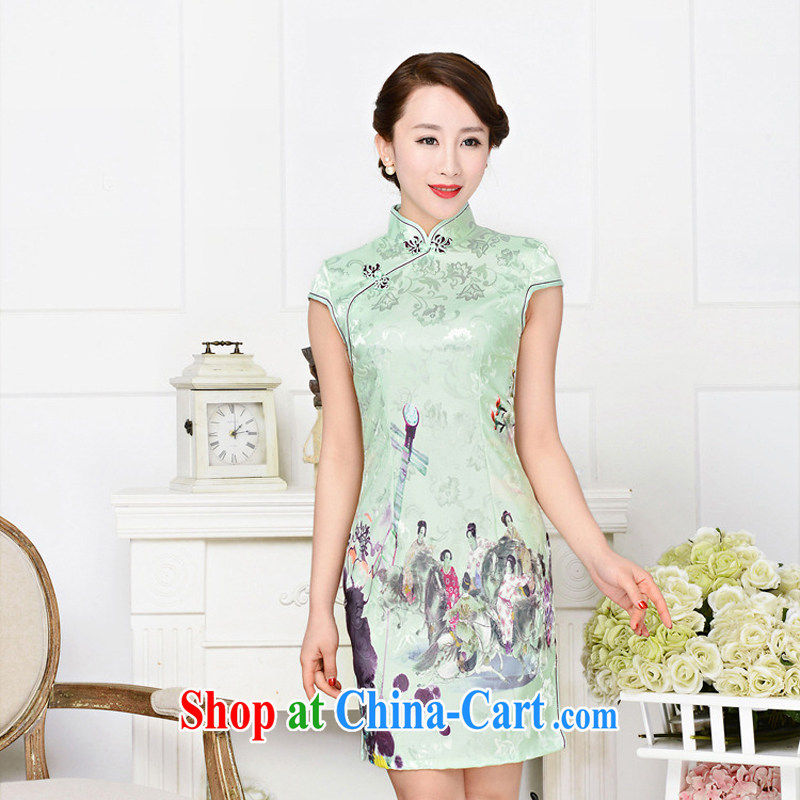 2015 new summer retro improved cultivation video thin daily short stylish cheongsam dress female beauty pipa fancy XXL