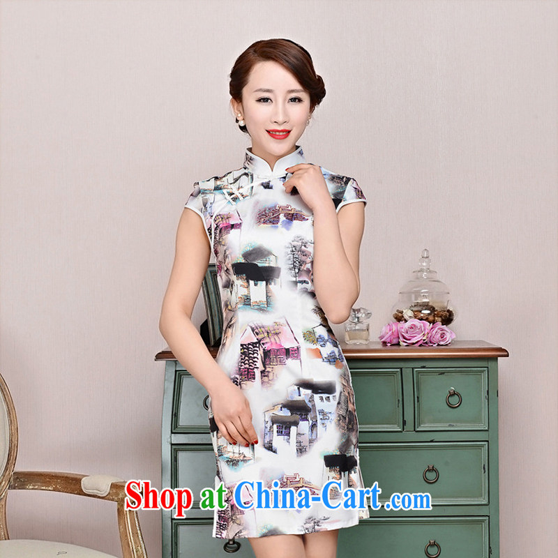 Summer 2015 New Silk Cheongsam dress retro fashion improved daily cheongsam dress beauty sexy outfit and white package for landscape XL