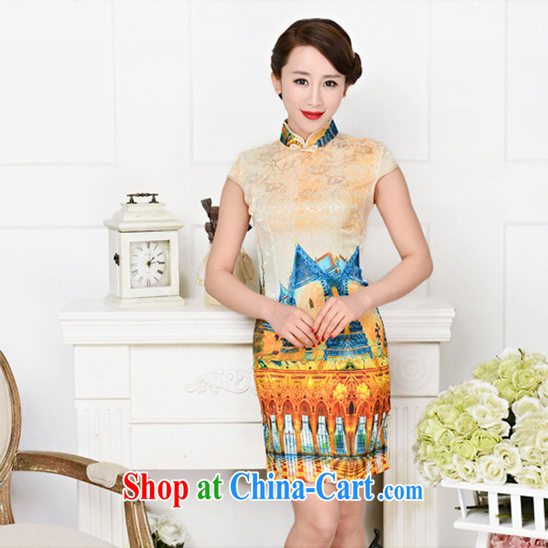 2015 Spring Summer jacquard cotton Ms. aura beauty retro daily improved cheongsam dress White Palace figure M