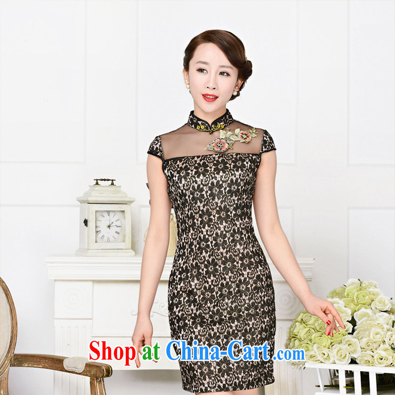 2015 summer new short-sleeved qipao style beauty lace dresses daily improved cheongsam girl picture color XL