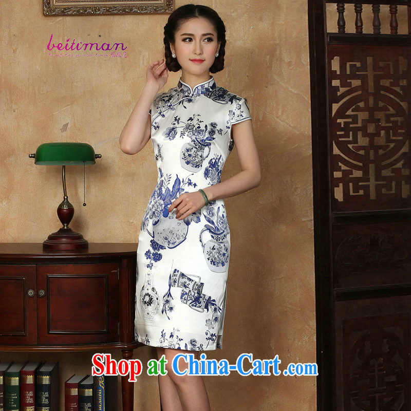 2015 summer new ladies dress improved stylish elegant dress short retro daily Silk Cheongsam dress blue and white porcelain XXXL
