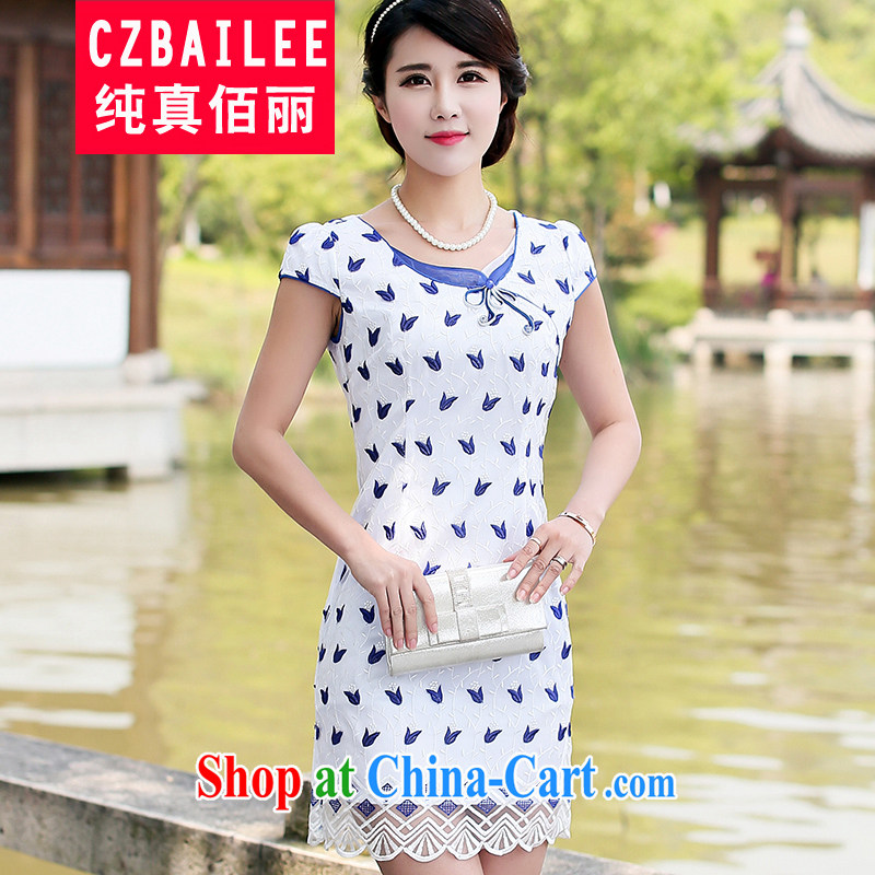 Jin Bai Lai improved cheongsam dress fashion style new summer 2015 Chinese dresses dresses by cultivating web graphics thin short-sleeve embroidery cheongsam 4XL