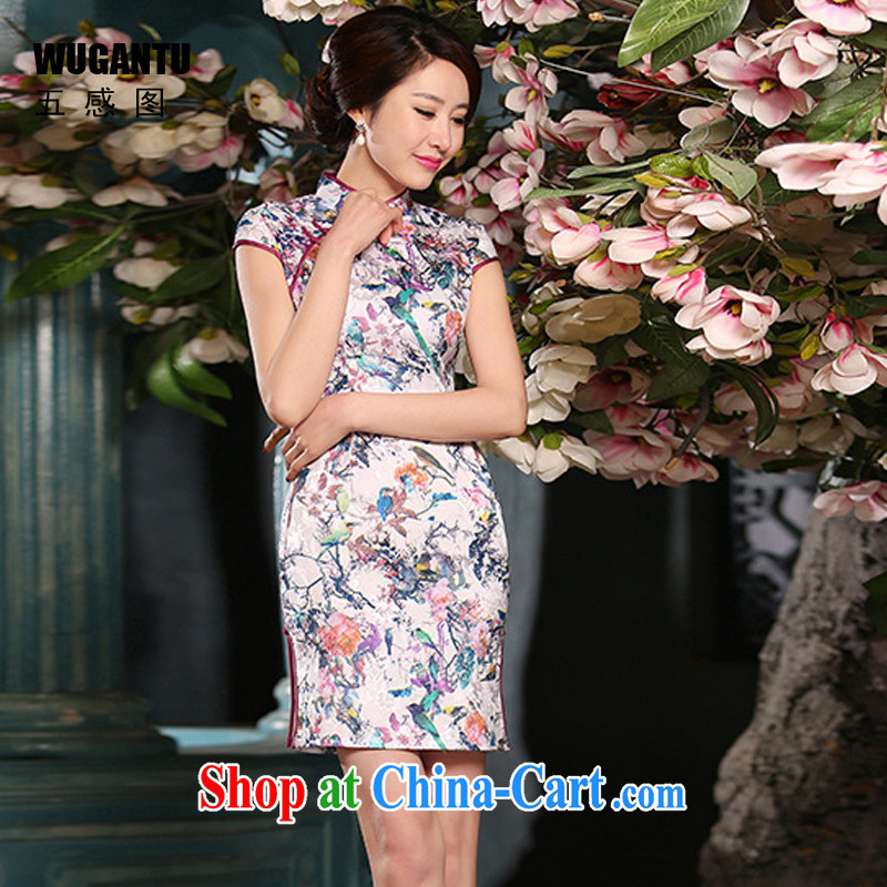 5 AND THE 2015 spring and summer new female cheongsam dress sober Beauty Fashion improved daily jacquard cotton robes WGT 307 photo color XXL