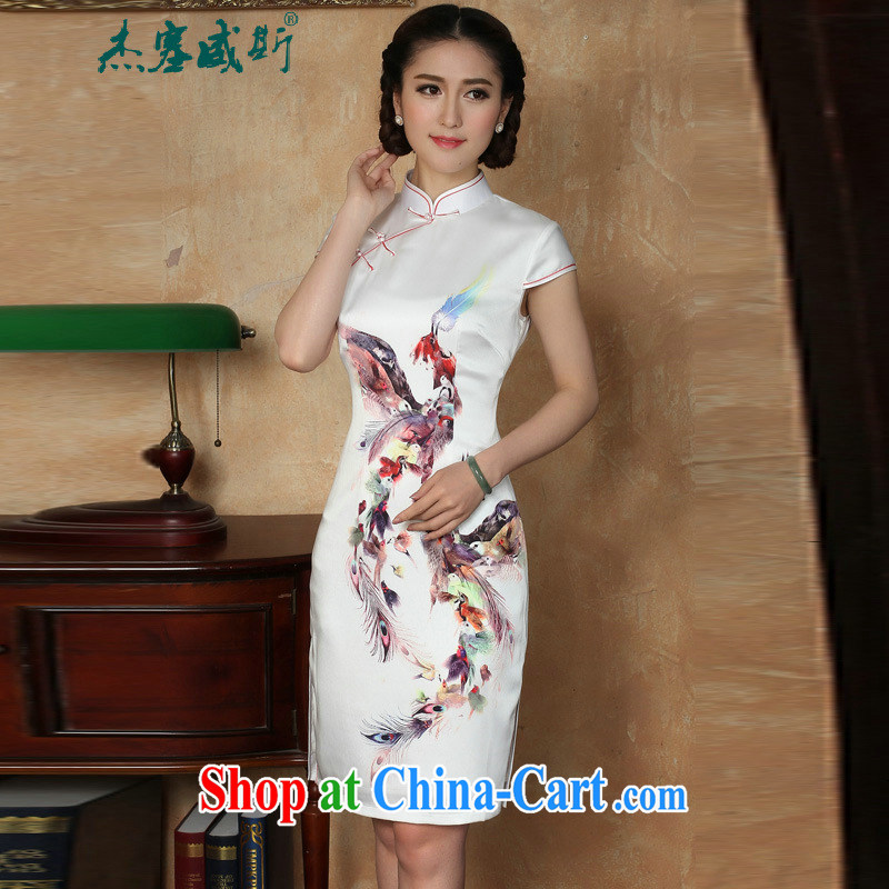 The Jessup, new summer Women's clothes, stamp duty for manual for short-sleeved dresses qipao Y 5129 small Phoenix�white XXL