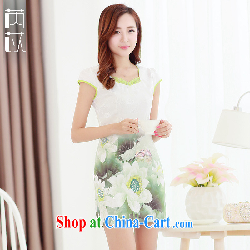 Rawnie_close by summer 2015 improved stylish short-sleeved qipao gradient Lady Jane parties for goods short Lotus XXL