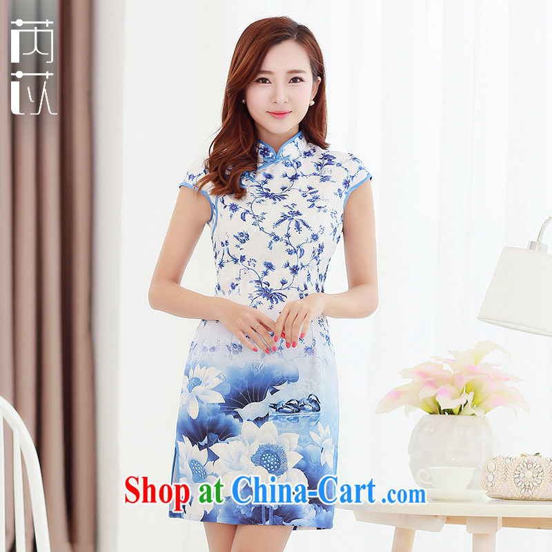 Rawnie_close by new summer Stylish retro dresses style beauty dresses short Chinese Dress blue XXL