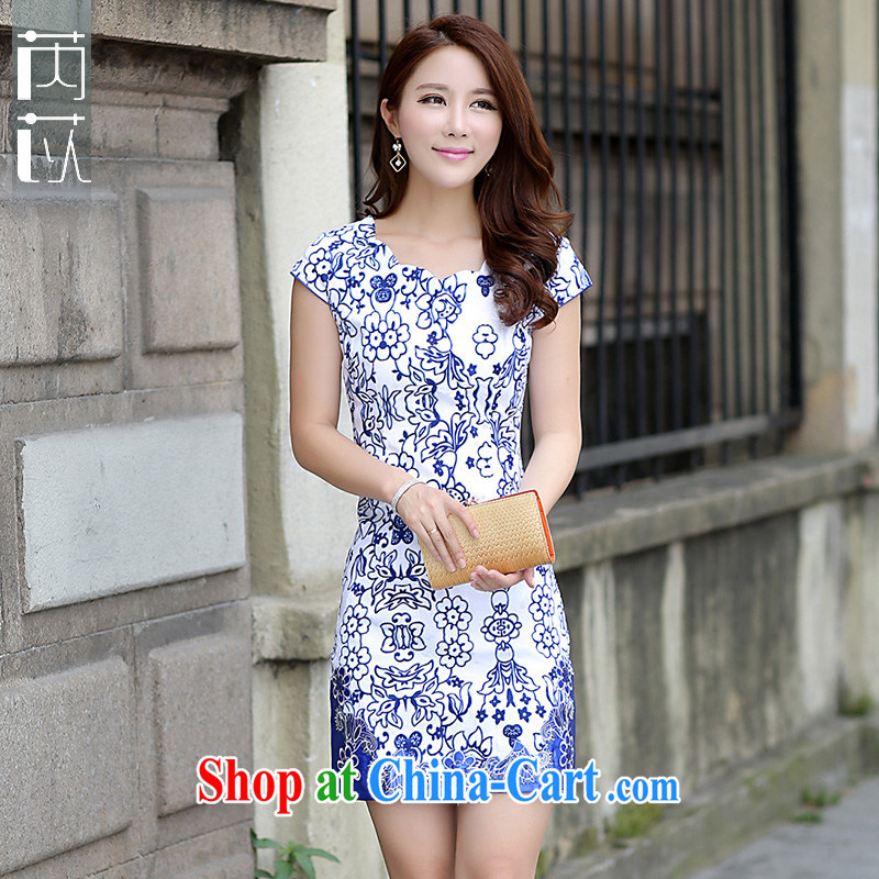 Rawnie/close by 2015 summer new dress blue and white porcelain elegant short-sleeved dresses retro dresses skirt blue and white porcelain XL
