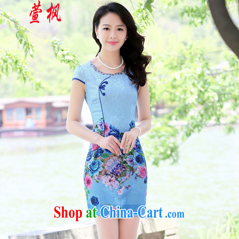 XUAN FENG 2015 summer New Beauty video thin short-sleeve with roses stamp improved cheongsam dress blue roses XXL