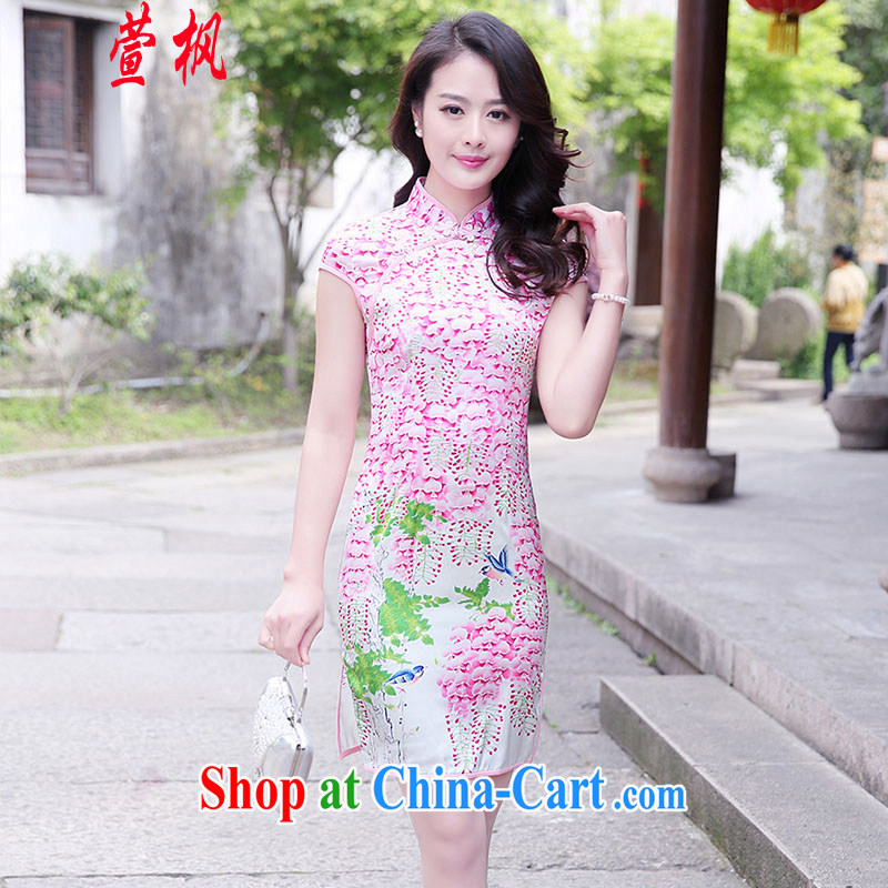 XUAN FENG 2015 summer New Beauty video thin the population base on the truck stamp improved cheongsam dress of saffron XXL