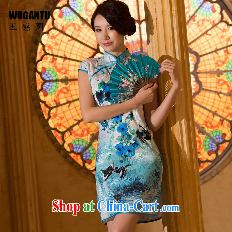 5 AND THE 2015 spring and summer New China wind female daily fashion improved and elegant antique beauty short cheongsam dress WGT 0310 photo color XXL