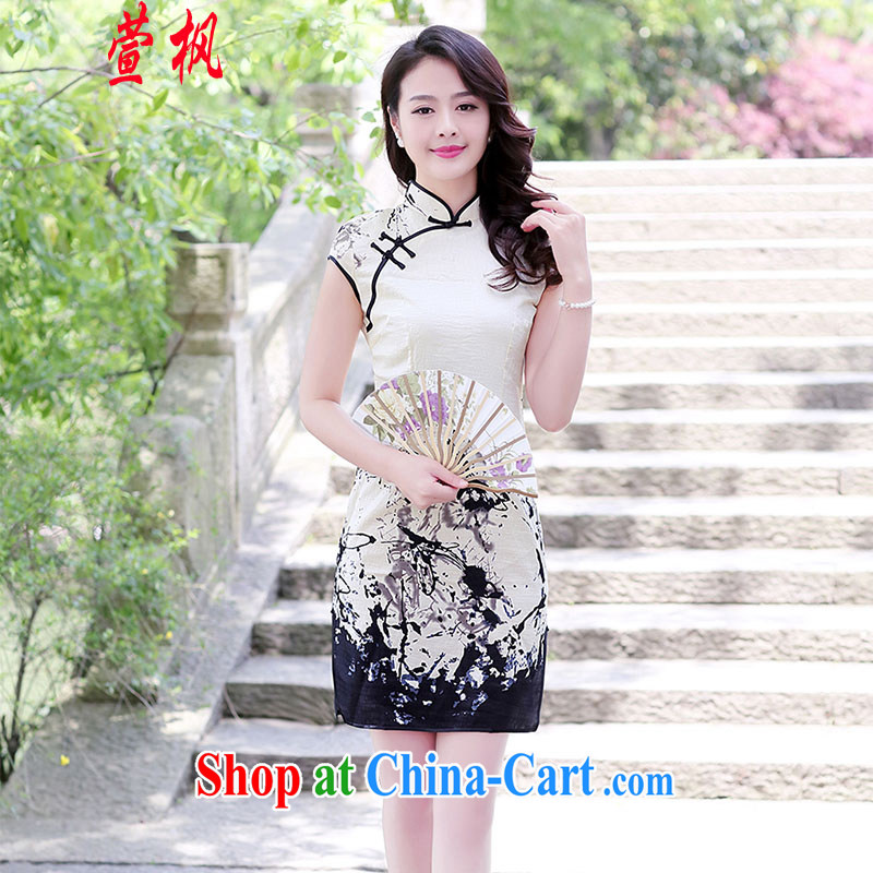 XUAN FENG 2015 summer new Korean Beauty graphics thin linen painting improved cheongsam dress painting XXL